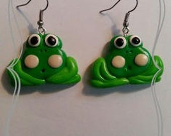 "Earrings in polymer clay ""Cute Green Frog"""