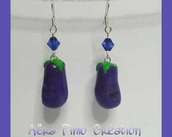 """Earring """"Eggplant kawaii lovely vegetables"""""""