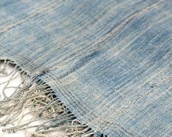 African vintage indigo big shawl/1950's/faded indigo/hand-woven/hand-stitch/Africa/natural indigo dyed/347