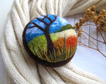Unique gifts for womans Landscape autumn jewelry Mothers day gift tree jewelry Teacher gift rustic jewelry Art original Fall gifts