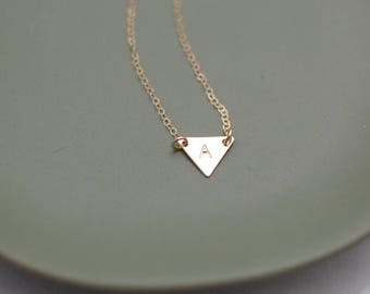 Tiny Triangle Gold Initial Necklace