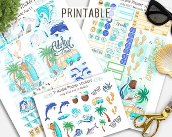 Monthly Stickers, July Planner Stickers,  July Printable Stickers, Summer planner stickers, Beach Planner stickers, Surf planner stickers