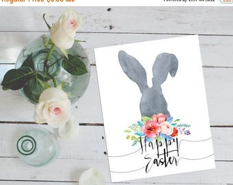 SALE Happy Easter Printable Card Easter Print Bunny Happy Easter Card Watercolor Art Watercolor Easter Bunny Print Printable Art Watercolour