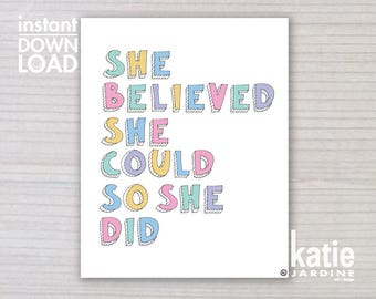 girls wall art - kids wall art - she believed she could - 8x10 print - instant art - printable art - freehand text - girls rainbow
