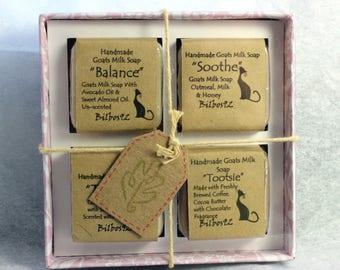 Goats Milk Soap - Boxed Gift Set of 4 Miniature Soaps