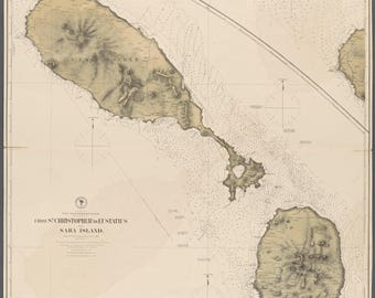St. Kitts & Nevis Islands Map - 1772