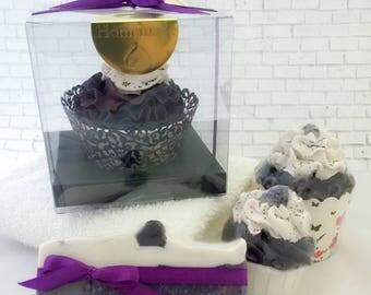 Black Raspberry Chardonnay Bath Cupcake With Bubble Bath Frosting and Jojoba Beads