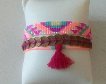 Bracelet multirangs Brasilia, tissage perles miyuki