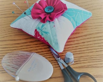Patchwork pincushion, quilted, half square triangles