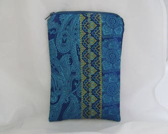 Brocade Tarot Card Bag Blue and Green with Light Blue Satin Lining and Zipper Dice Makeup Pouch Fancy