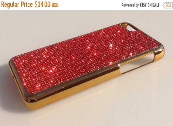 Sale iPhone 5C Red Diamond Crystals on Gold-Bronze Electro Plated Plastic Case. Velvet/Silk Pouch Included, Genuine Rangsee Crystal Cases.