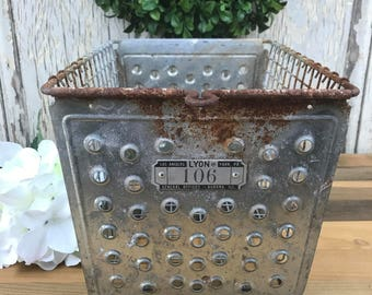 Vintage Metal Locker Basket, Metal Basket, Vintgae Locker Basket, Industrial Basket, Storage Basket, Metal Bin