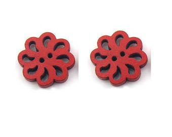 Lot 2 buttons openwork flower filigree wood red 20 mm