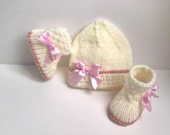 SET SHOES 0/3 MONTH BABY HAT WOOL WHITE ECRU ROSE GIRL BREAKAGE