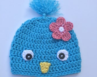 Bird Hat, Ready to Ship, Crochet Baby BlueBird Hat, Baby Girl Hat, Photo Prop Bluebird, Unique Baby Gift