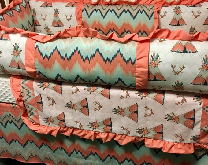 Teepee and Deer Antler Custom Baby Bedding with Coral and Teal- Baby Girl Crib Bedding