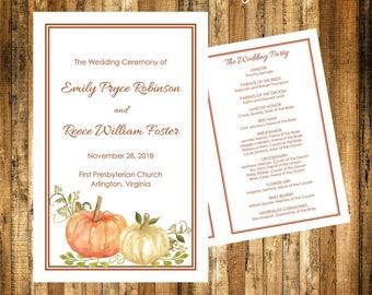 Fall Wedding Program Template Instant Download Harvest Pumpkins Folded NO CUT 85 X 11 Editable