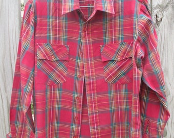 Rugged Country Campus 14 1/2 vintage fitted plaid shirt - very good condition
