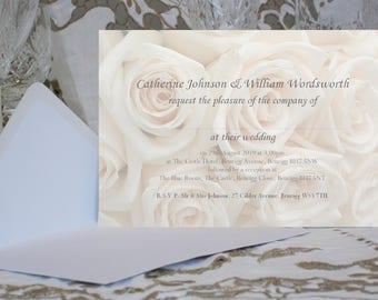 wedding invitations personalised large 18x13cm 7x5 wedding invites with envelopes ivory - Ivory Wedding Invitations