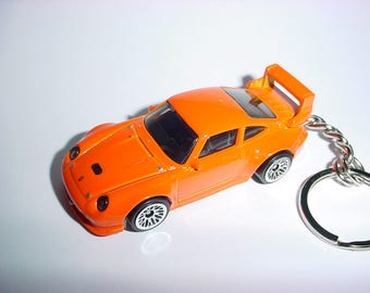 3D Porsche 993 GT2 turbo custom keychain keyring key chain by Brian Thornton finished in orange color trim