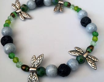 Green Dragonfly Aromatherapy Diffuser Bracelet