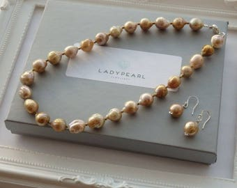 Large Pearl Necklace, Pearl Necklace, Silver Pearl Necklace, Freshwater Pearls, Pearl Jewellery
