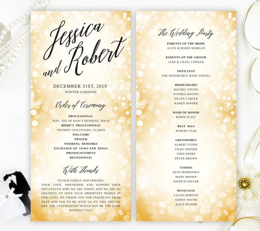 New Years Eve wedding programs printed on luxury shimmer cardstock