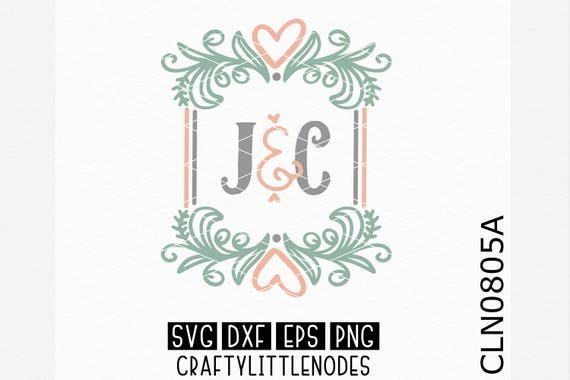 CLN0805A Wedding Couple Monogram Frame Bride Groom Sign SVG DXF Ai Eps PNG Vector Instant Download Commercial Cut File Cricut Silhouette