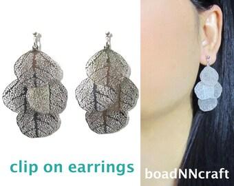Shiny Silver Layered Leaves Filigree Clip On Earrings |41E| Chandelier Boho Clip Earrings,Dangle Long Clip On Earrings,Non Pierced Earrings