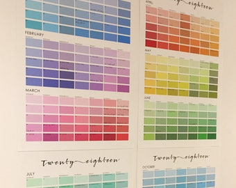 Paint Chip Colour Swatch Wall Planner 2018 - Family Wall Planner Pantone Colour Chart Calendar Scandi Extra Large Wall Planner Family
