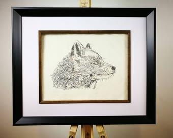 Print of original dry point etching of a fox with pattern detail.
