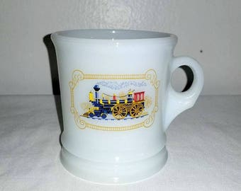 Vintage Avon Milk Glass Shaving Mug,Train Cup,Avon Milk Glass Mug,Vintage Avon,Milk Glass,Locomotive,Train,Avon Coffee Mug,Shaving Mug,1970s