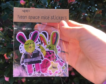 Neon Space Mice Stickers