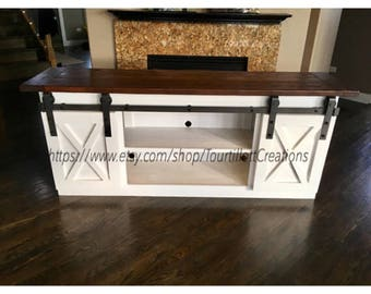 TV Console/TV Stand/Entertainment Center/Barn Door/Custom/media stand/media hutch/cabinent/sliding doors/side board/buffet/entry table/hutch