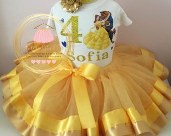 Beauty and the beast birthday outfit - Belle birthday outfit - Beauty in the beast birthday theme - Belle birthday theme - belle dress