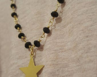 long necklace with Rosary chain and pendant star