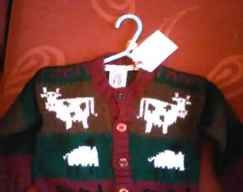 Hand knitted farm themed cardigan to fit a child aged 6-12 months