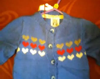 Hand knitted Cardigan to fit a little girl aged 6-12 months old