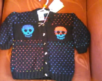 Hand knitted Skull themed cardigan to fit a child aged 3-4 years old