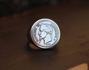 Ring Silver 925 - 50 cents coin - NAPOLEON