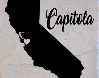 "Set of 4 ""Capitola California"" Coasters.  Free Shipping"