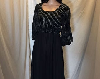 Vintage 60s 70s Jackie Taub Connections Black Dress Silver Metallic Glitter Accents ILGWU Union Tag