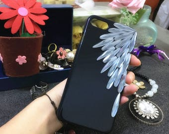 New Simple Bling Sparkly Lovely Gems Gray Feather Gemstones Crystals Rhinestones Diamonds Fashion Hard Cover Case for Various Mobile Phones