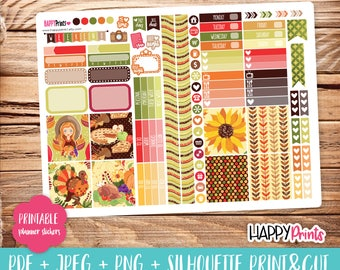 Thanksgiving Printable Planner Stickers.