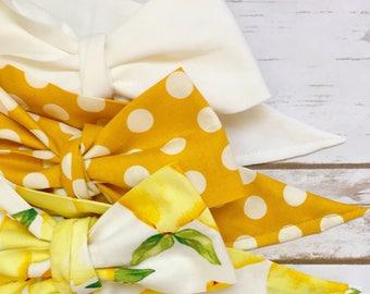 Gorgeous Wrap Trio (3 Gorgeous Wraps)- Blanc, Dottie Mustard & Sweet Lemon Gorgeous Wraps; headwraps; fabric head wraps; bows