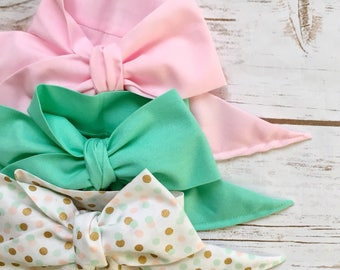Gorgeous Wrap Trio (3 Gorgeous Wraps)- Pink, Seafoam & Gold Confetti Gorgeous Wraps; headwraps; fabric head wraps; headbands