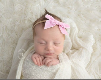BALLET VINTAGE VELVET Hand-tied Bow (Headband or Clip)- velvet bow headband; velvet bow; newborn headband; baby headband; toddler bow
