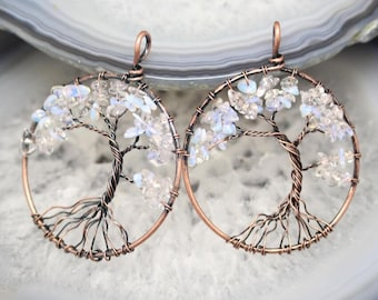 3pcs/lot Opal Chip Beads Wire Wrapped Bronze Plated Copper Nuggets Tree of Life Pendants Beading Necklace for Women Gifts Wholesale 50mm