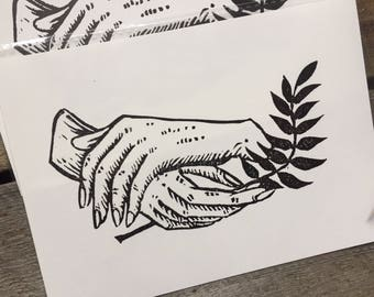 Small Linocut Print - hand and fern study