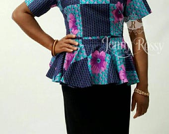 African clothing,  African peplum square neck line blouse ,Ankara   Top women clothing